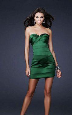 La Femme 15841 Green Strapless Prom Dress