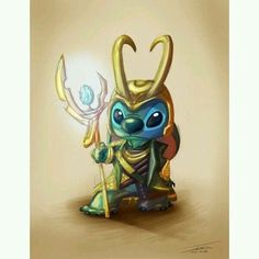 omg its Stitch dressed as Loki. well he was created for mischief. As if I couldn't love Loki/Stitch more. Disney Amor, Arte Disney, Disney Love, Disney Magic, Disney And Dreamworks, Disney Pixar, Disney Characters, Disney Marvel, Disney Stich