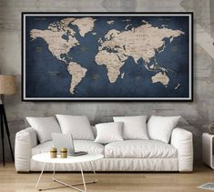 Navy blue wall art prints extra large wall art world map push pin Navy blue decor push pin travel map art - WORLD MAP POSTER -L