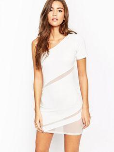 Litost Single Shoulder Mesh Bodycon Dress