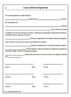 Free Easy Lease Agreement To Print  Free Printable Lease
