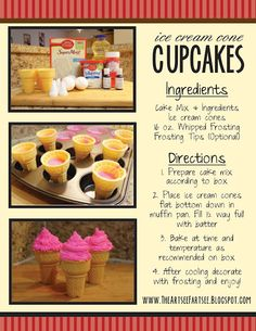 How to make Ice Cream Cone Cupcakes. For Dessert Today! Yummy Treats, Delicious Desserts, Sweet Treats, Yummy Food, Cupcake Recipes, Baking Recipes, Dessert Recipes, Cone Cupcakes, Baking School