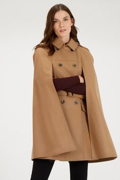Coats & Jackets | Brown Longline Belted Cape | Warehouse