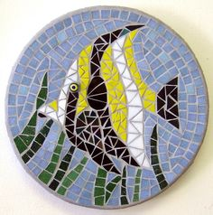 """Pretty little fishy"". 10"" round. Vitreous glass tiles; stained glass; millefiori. Sold. Patrizia Brasch Mosaics"