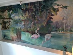 Mural painted by artist Earl LaPan, Victor Hotel Miami Beach, FL Miami Beach Hotels, World's Fair, Mural Painting, Medium Art, Sculptures, History, Artist, Historia, Wall Mural
