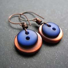 royal blue and copper button earrings with copper by edithandlulu