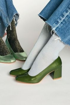 green and metallic green heels
