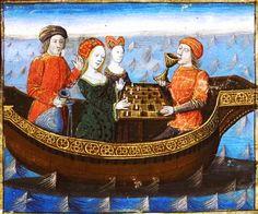 Tristán e Isolda juegan al ajedrez en un tablero de 6x7 cuadros mientras beben la poción de amor