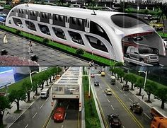This is the Straddle-Bus in China. Cool, huh?! Traffic never has to stop!