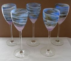 EXQUISITE SET Statuesque STEVEN MASLACH 5 GORGEOUS Glass WINE GOBLETS Unsigned