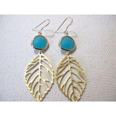 Turquoise Golden Leaf Earrings by MariahBennett on Etsy ($35) via Polyvore