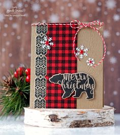 Simon Says Stamp Magical Christmas stamps and dies. Holiday Release 2016 Believe in the Season. Card by Wanda Guess. Bear, plaid, buffalo check, retro, vintage Christmas