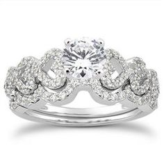 1.00 Cttw Round Diamond 2 Piece Bridal Set Unique Heart Engagement Ring Wedding…