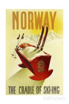Norway Cradle Skiing Giclée-trykk hos AllPosters.no