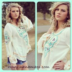 Embroidered Boho Top. $36   COLORFUL EMBROIDERED BOHO TOP  Classy, trendy, Boho Chic and Adorable.  This embroidered vintage style top can be worn with our adorable shorts and sandals    #bohochic #love #springtrends #fashion #follow #like #photo #gladiatorsandals #shorts #denimshorts #laceshorts #fashion #ootd