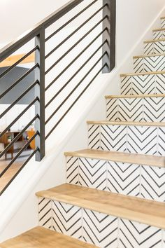 Best ideas for wood tile stairs staircases black white Tiled Staircase, Tile Stairs, Staircase Railings, House Stairs, Staircase Ideas, Wood Stairs, Stairs Tiles Design, White Staircase, Staircases