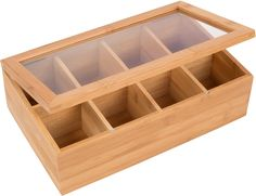 Features:  -8 Compartment eco-friendly bamboo tea storage box with clear lid for…