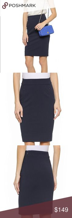 DIANE VON FURSTENBERG KOTO PENCIL SKIRT 8 NAVY DVF Cut from sleek mid-weight jersey, this fitted DVF pencil skirt has discreet zip pockets concealed in the narrow seams. Unlined.  Fabric: Jersey suiting. Shell: 71% viscose/23% polyamide/6% elastane. Dry clean. Imported, China.  MEASUREMENTS Length: 22in / 56cm Diane Von Furstenberg Skirts Pencil