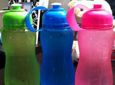 Bought 3 of these 21 oz water bottles at the dollar store. Dedicated one for morning, one for afternoon, and one for evening. Thats 63 oz in a day. Before bed, just refill all and put in fridge- ice cold H2O all the time! And its better for the environment