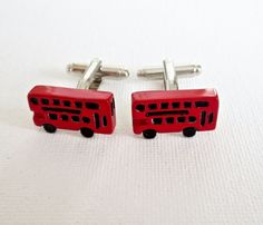 Double Decker Bus Cufflinks Cuff Links British English BLondon UK Groom Groomsmen Fathers Day Gift From Daughter