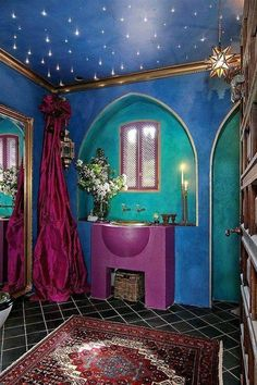 gypsy decorating style bathroom with starry ceiling and blue green walls and purple sink : Bold Interior Gypsy Decorating Style. gypsy home decor,gypsy home decor ideas,gypsy home decorating,gypsy interior decorating,gypsy style interior decorating Moroccan Bathroom, Bohemian Bathroom, Moroccan Decor, Moroccan Style, Bohemian Decor, Bohemian Style, Modern Bohemian, Modern Bathroom, Bohemian Gypsy