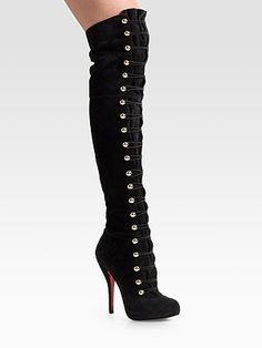 Christian Louboutin corset-style boots, over the knee. Uh, yes please!