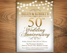 50th Wedding Anniversary Invitation / Gold / by TheStarDustFactory