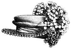 ladies hat clip art free | vintage hat clip art, Victorian ladies hat, antique hat illustration ...