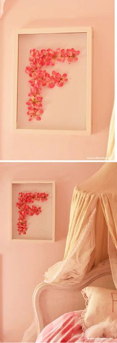 Framed Flower Monogram Art//willow day Could use pressed flowers from the…