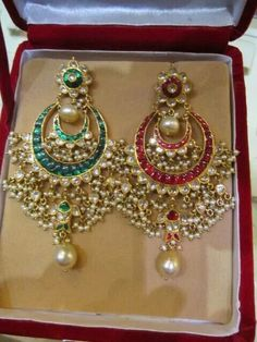 Reversible ruby and emerald earrings with pearls