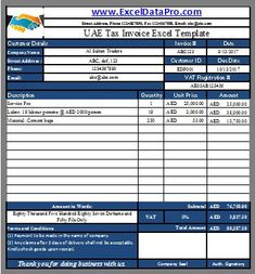 Download Bilingual Uae Vat Invoice Excel Template  Uae And Template