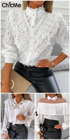 Vetement Fashion, Smart Outfit, Mein Style, Elegantes Outfit, Fashion Project, Blouse Styles, Daily Fashion, Blouses For Women, Lace Trim