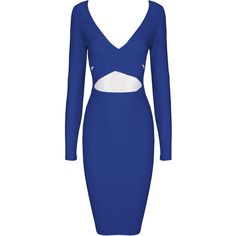 Brittany White Midi Cut Out Long Sleeve Bandage Dress ($139) ❤ liked on Polyvore featuring dresses, gowns, long sleeve dress, white evening dresses, white ball gowns, sexy gowns and sexy evening dresses