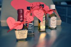 DIY Valentine Day Gifts For Him.  Get some liquor and put cute notes around them.  So easy and cute!