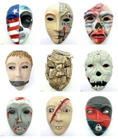 Trauma Masks.  Follow the source link to read more about these masks that were created by Veterans living with PTSD.