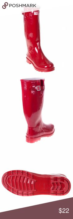 """Women Red 14"""" High Rubber Rainboots RB-3106 Enjoy rainy weather in stylish ladies' rain boots! 100% rubber, full cotton lining. Whatever you call them - wellies, galoshes, rainboots or sluggers, your feet are sure to stay dry while exploring puddles or gardening! Run half a size large to accommodate a thick sock.  Not made for wide calves.  Height 14"""", calf circumf. approx. 15"""". forever young Shoes Winter & Rain Boots"""