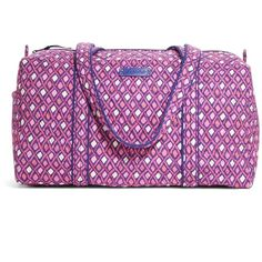 Vera Bradley Small Duffel Travel Bag in Katalina Pink Diamonds ($68) ❤ liked on Polyvore featuring bags, luggage, katalina pink diamonds, sale and travel