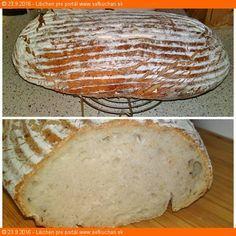 Kváskový zemiakový chlieb zo špaldovej múky Recept na veľmi chutný kváskový zdravší chlieb zo špaldovej múky so zemiakmi, ktorý zostane dlhšie vláčny a čerstvý ako v deň pečenia. Ingrediencie Na rozkvas: 1 polievková lyžica aktívneho ražného kvásku 150 gramov špaldovej chlebovej múky T 630 150 gramov vlažnej vody na chlieb: 300 gramov hotového rozkvasu 160 … Sourdough Recipes, Bread Recipes, Bread Dough Recipe, Yummy Food, Tasty, Bread And Pastries, Russian Recipes, Ham, Bakery