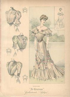 Evening dress and shirtwaists, 1906 the Netherlands, De Gracieuse