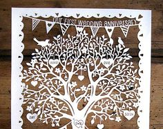 Family Tree / First Wedding Anniversary Papercut Template PDF Printable Cut Your Own Papercut by Samantha's Papercuts
