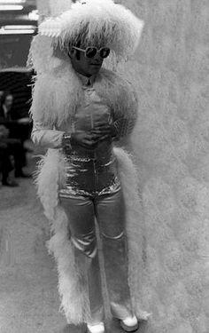 Elton John preparing for his Hollywood Bowl show, 1973