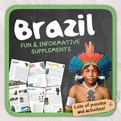 Brazil (country study) from Thematic Worksheets on TeachersNotebook.com -  (13 pages)  - Let's get to know Brazil! World International Days, Brazil Country, Community Workers, Teaching Materials, World Cultures, World History, Social Studies, Middle School, Worksheets
