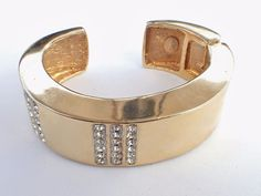 Vintage Signed Les Bernard NY Bracelet gold tone rhinestones hinged AB436 #LesBernard