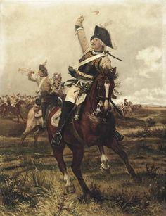 Friedrich Wilhelm von Seydlitz  leading the Prussian Cuirassiers, Seven Years War