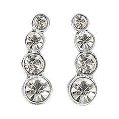 earrings, silver plated, crystal