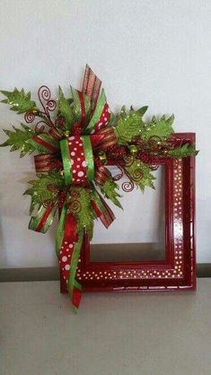 Christmas DIY: Alternative Christma Alternative Christmas wreath made from a repurposed picture frame. by patsy Picture Frame Wreath, Christmas Picture Frames, Christmas Door, Christmas Pictures, Winter Christmas, Christmas Holidays, Christmas Wreaths, Picture Frame Crafts, Picture Frame Decorating Ideas