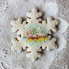 Новый год 2017 ручной работы. Заказать Снежинки с рисунком, большие. Пряник.. Пряничное кружево. Ярмарка Мастеров. Новый Год, пряник