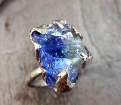 Raw Tanzanite Crystal White Gold Ring Rough Uncut Gemstone tanzanite recycled…