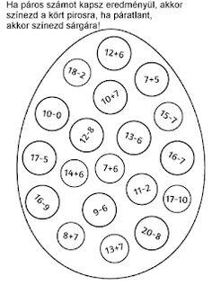JujoBoro: Matematika feladatlap Húsvétra First Grade Worksheets, 1st Grade Math, Math Worksheets, Preschool Math, Teaching Math, Math Activities, Primary Maths, Primary School, Maths Algebra