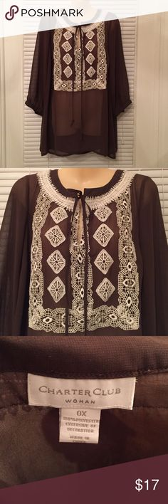 NWOT! Sheer brown shirt with gorgeous detailing. NWOT! Sheer brown shirt that ties in from with a keyhole opening. Delicate crocheted detailing in front and back. Sleeves are 3/4. Comes from a smoke and pet free home. Charter Club Woman Tops Blouses
